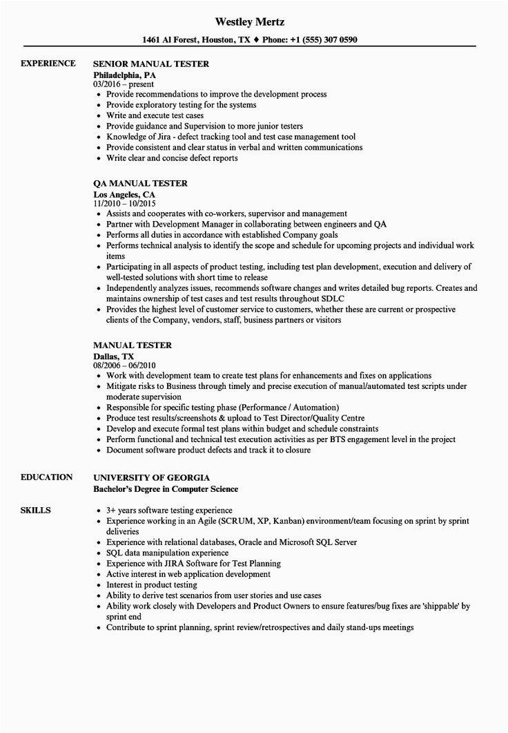 Manual Testing Sample Resume for 4 Years Experience 20 Entry Level Qa Resume In 2020