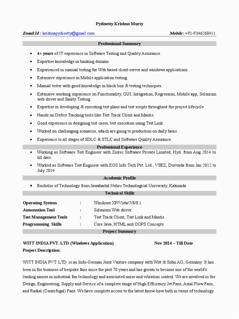 4 years Manual and Mobile App Testing Resume