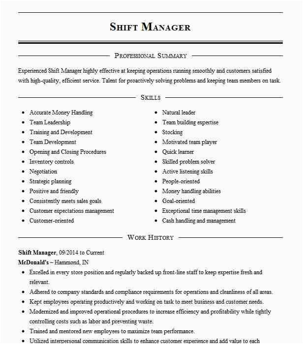 Mcdonald S Shift Manager Resume Sample Mcdonald S Shift Manager Resume Example Mcdonald S