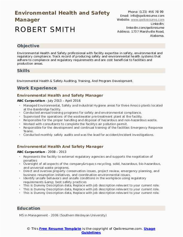 environmental health and safety manager