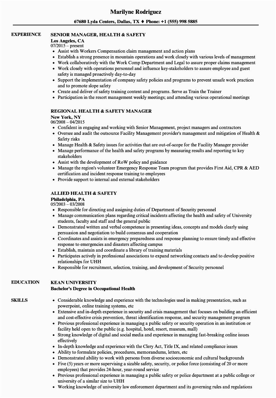 health safety resume sample