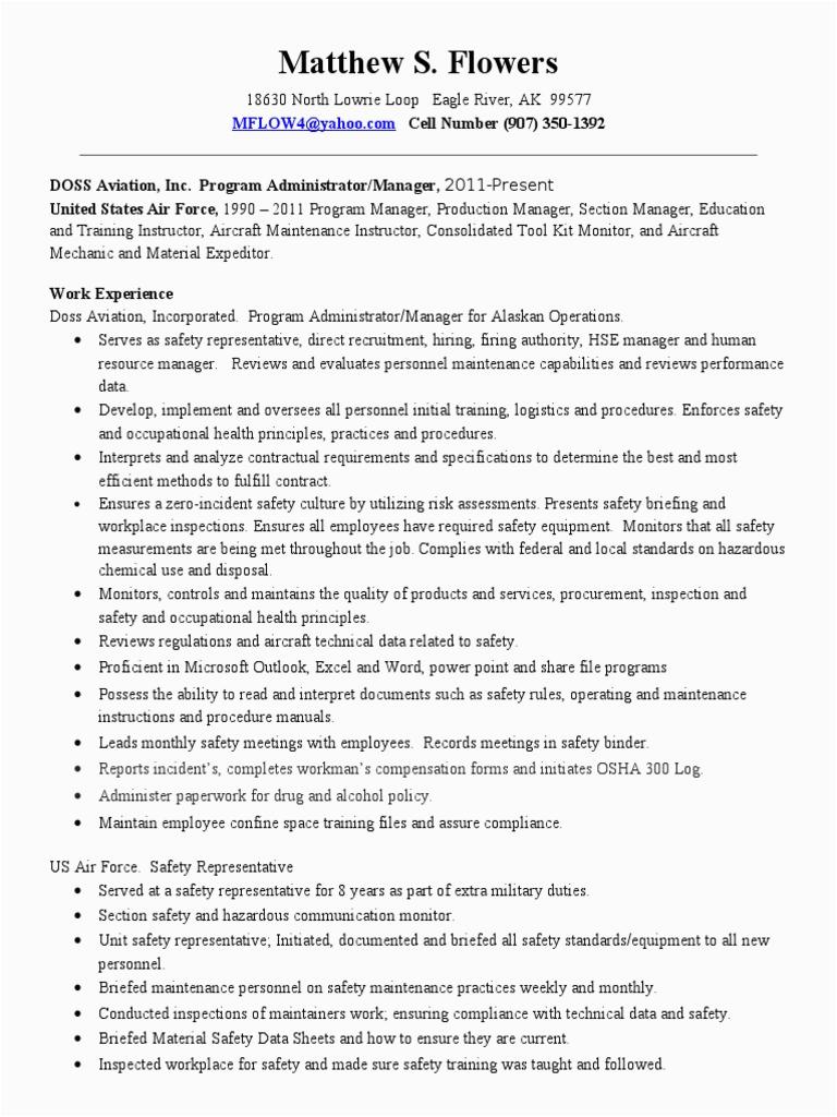 safety resume 2013