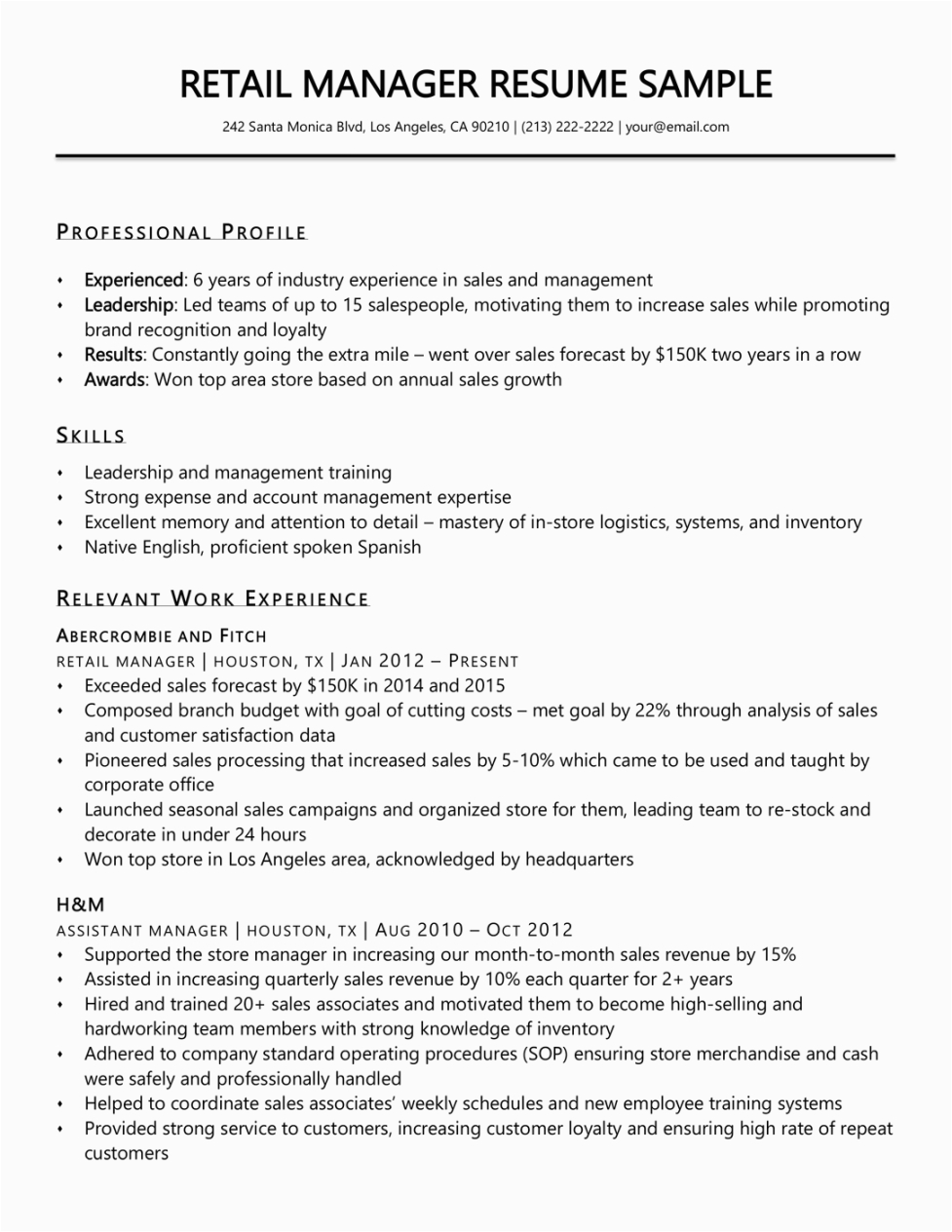 Retail Management Resume Examples and Samples Retail Management Resume Template