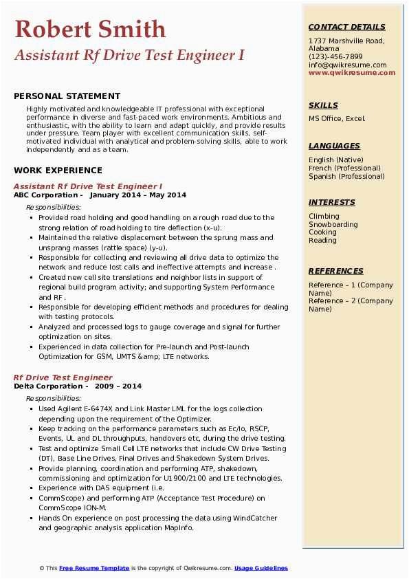 Rf Drive Test Engineer Sample Resume Rf Drive Test Engineer Resume Samples