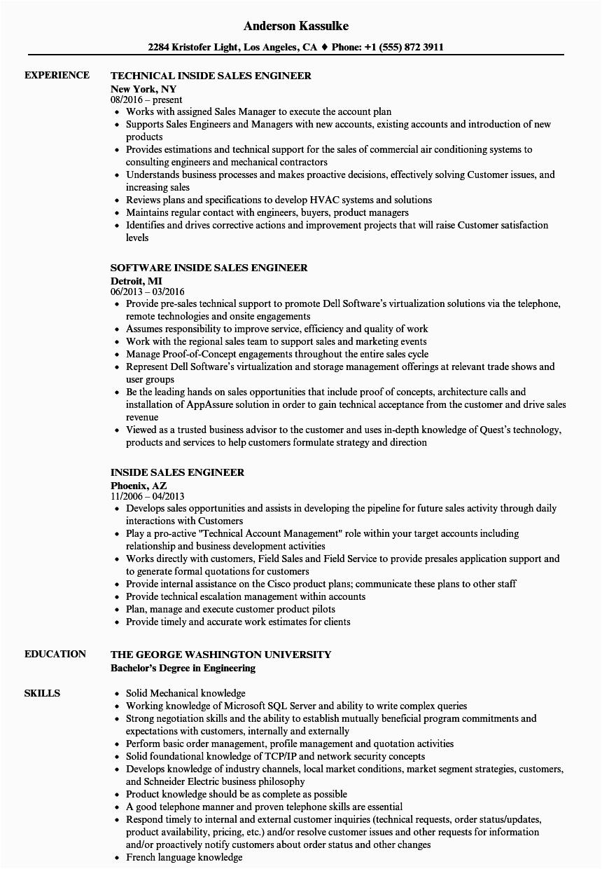 inside sales engineer resume sample