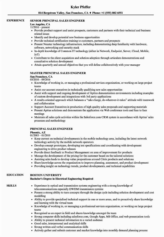 principal sales engineer resume sample