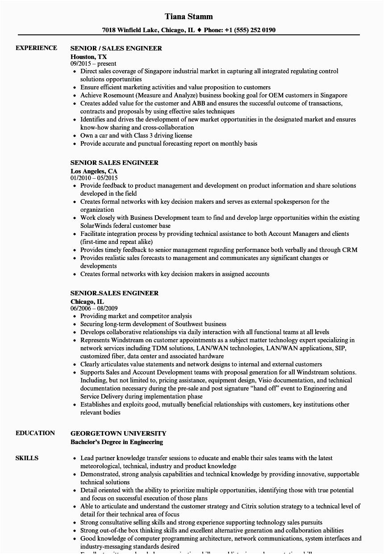 senior sales engineer resume sample
