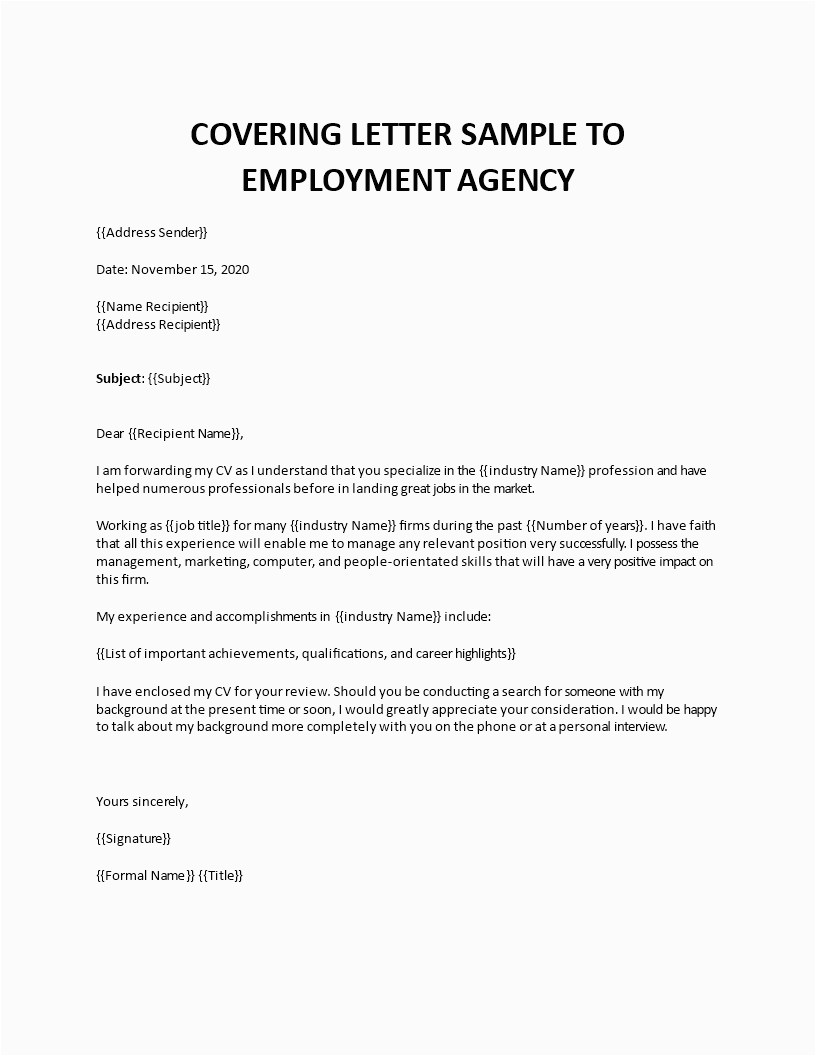 email to recruitment agency sample