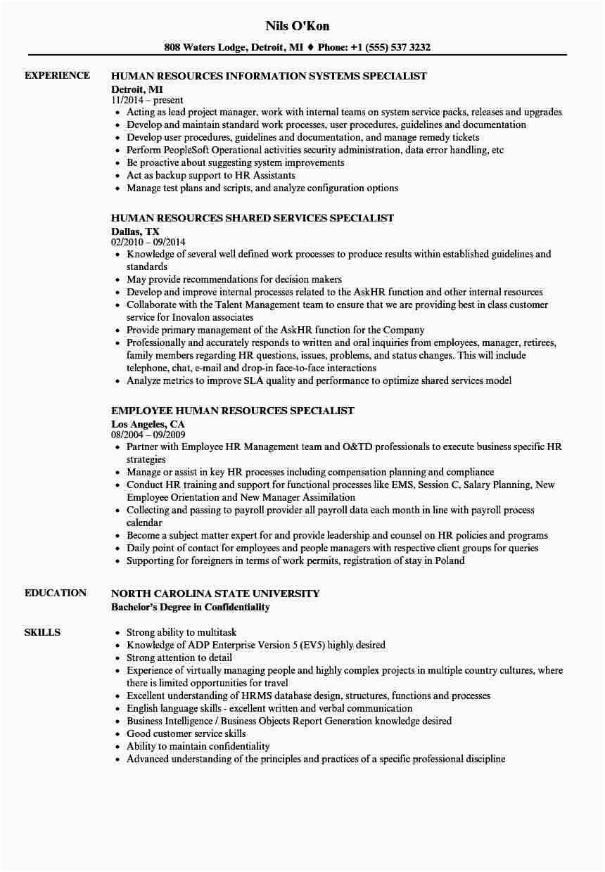 Sample Federal Human Resources Specialist Resume Human Resources Specialist Human Resources Resume Velvet Jobs