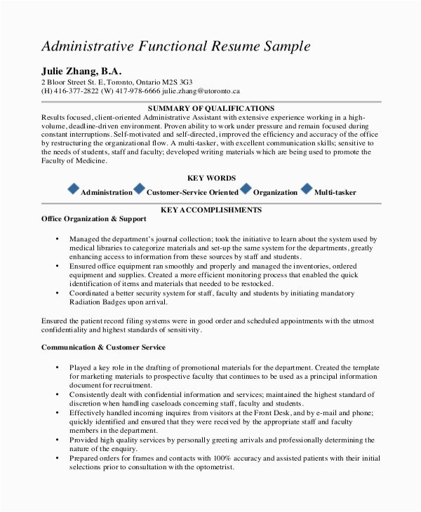 Sample Functional Resume for Administrative assistant 10 Executive Administrative assistant Resume Templates