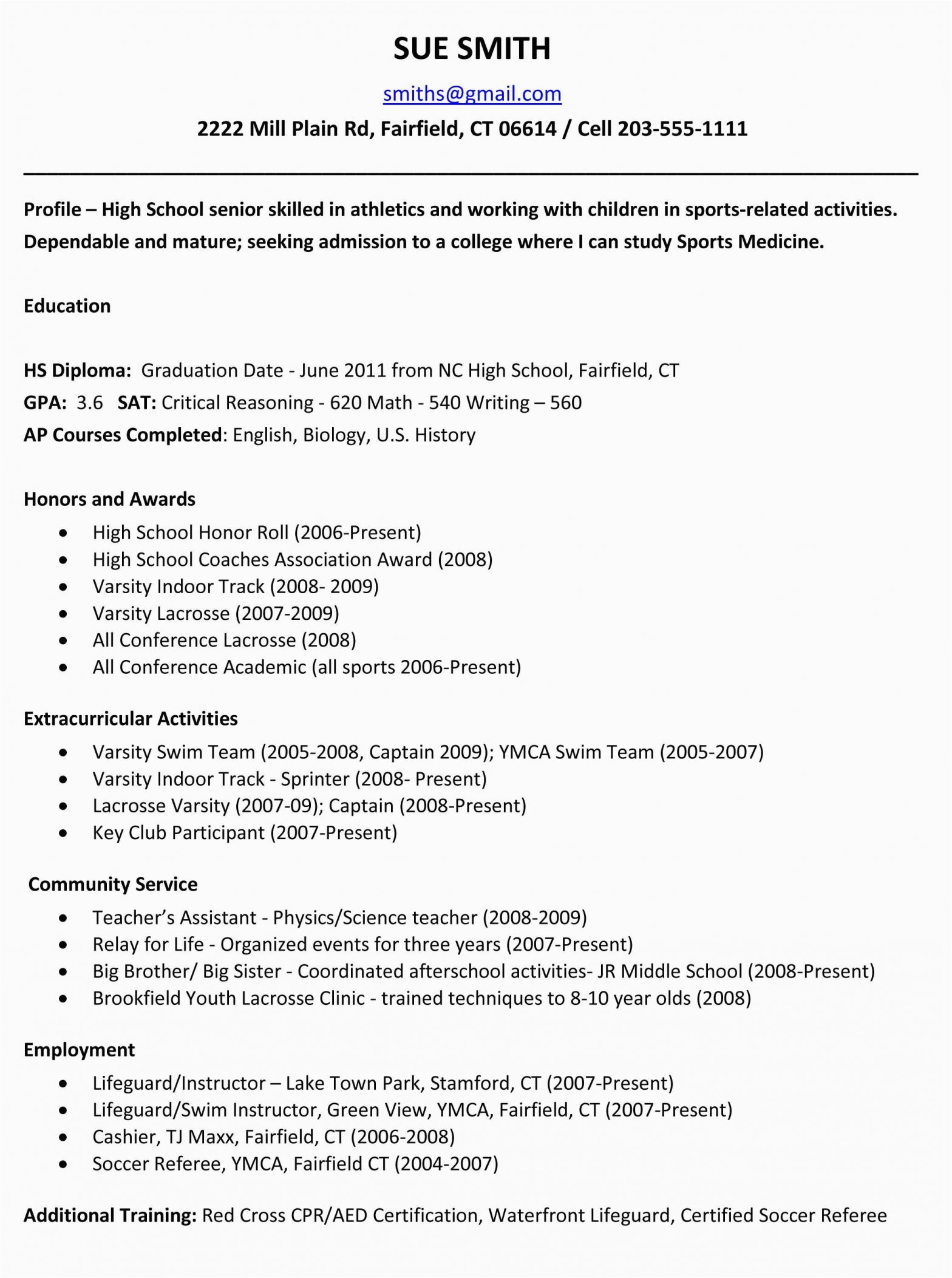 Sample High School Resume for College Application Sample Resumes