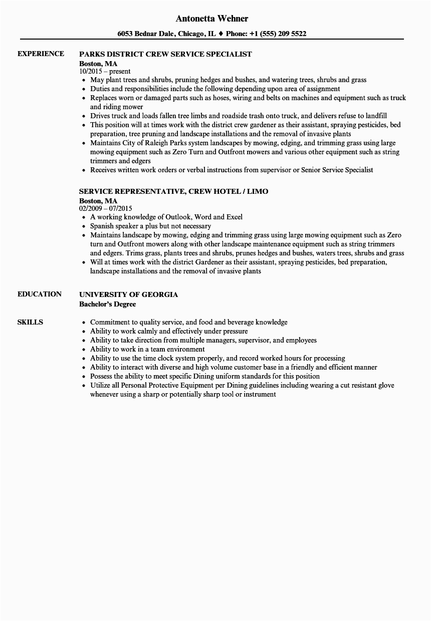 Sample Objective In Resume for Service Crew Service Crew Resume Samples