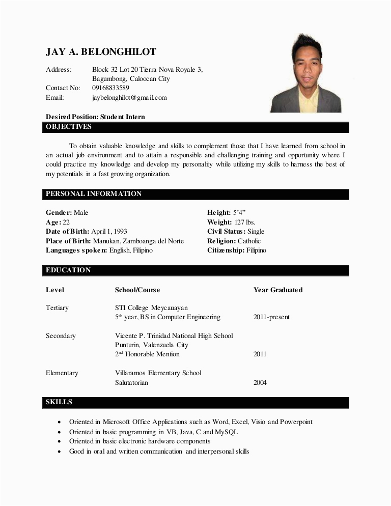 Sample Of Resume with 2×2 Picture Jay Belonghilot Resume with 2×2