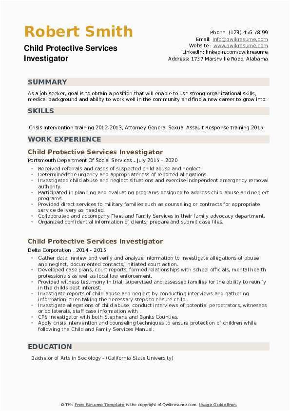 child protective services investigator