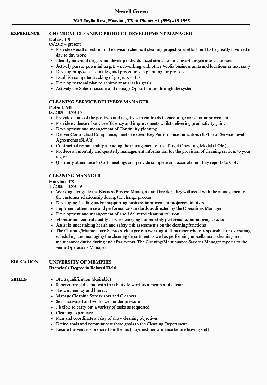 Sample Resume Cleaning Company Owner Manager Cleaning Manager Resume Samples