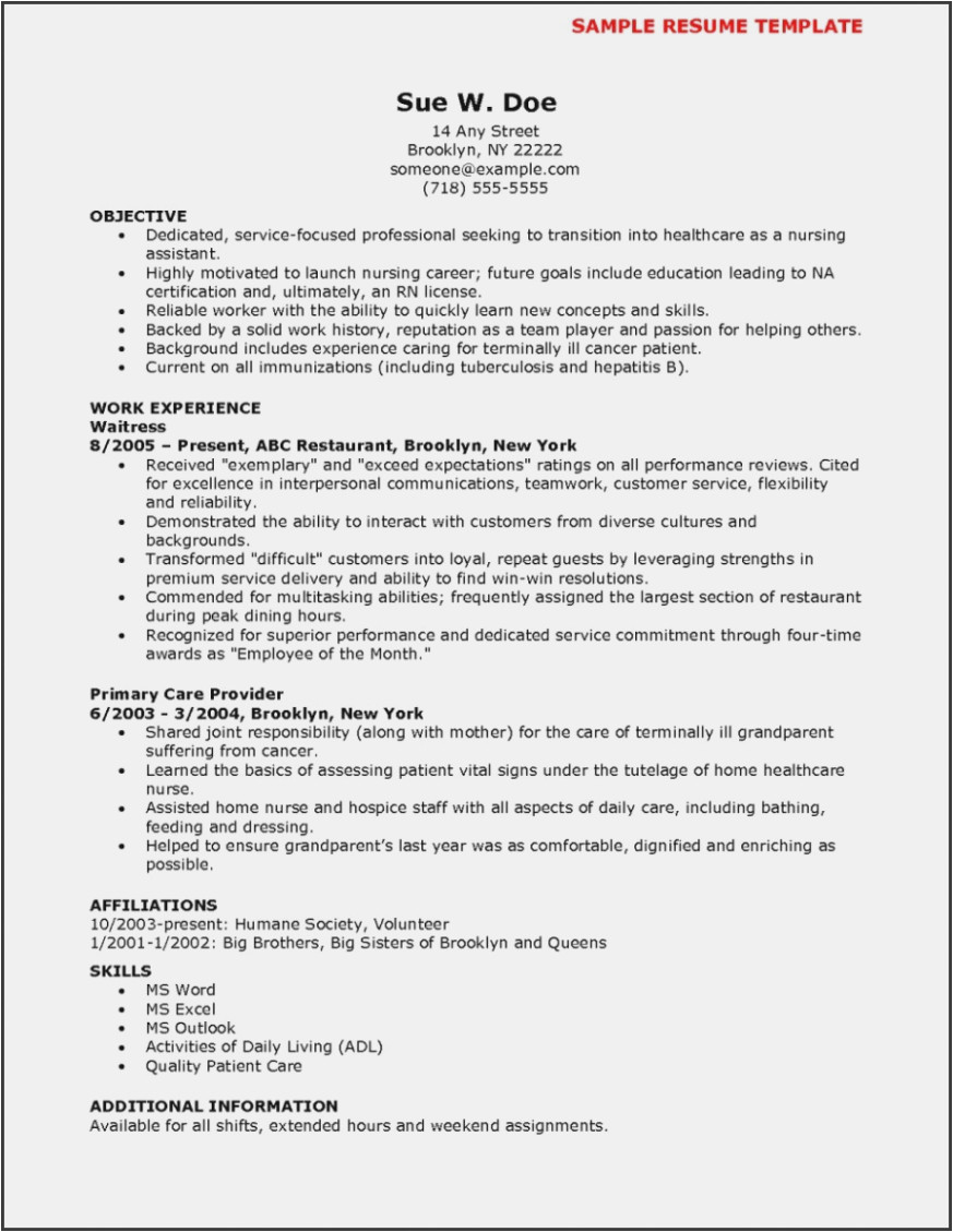 Sample Resume Cna No Previous Experience Cna Resume Template No Experience