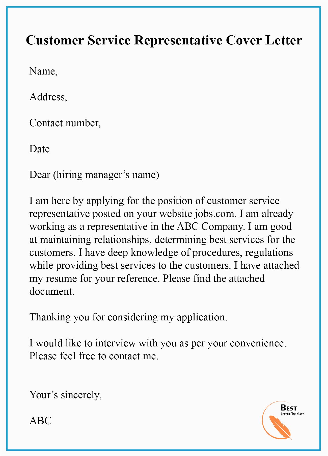 Sample Resume Cover Letter for Customer Service Representative Customer Service Representative Cover Letter Sample for