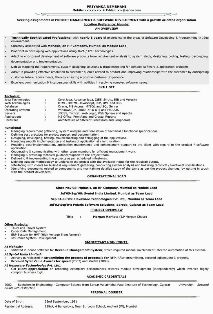 Sample Resume for 5 Years Experience In Mainframe Resume format for 5 Years Experience In Testing Resume