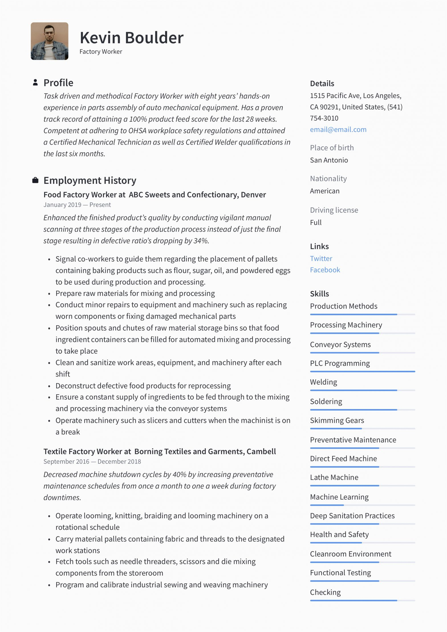 Sample Resume for A Factory Worker Factory Worker Resume & Writing Guide