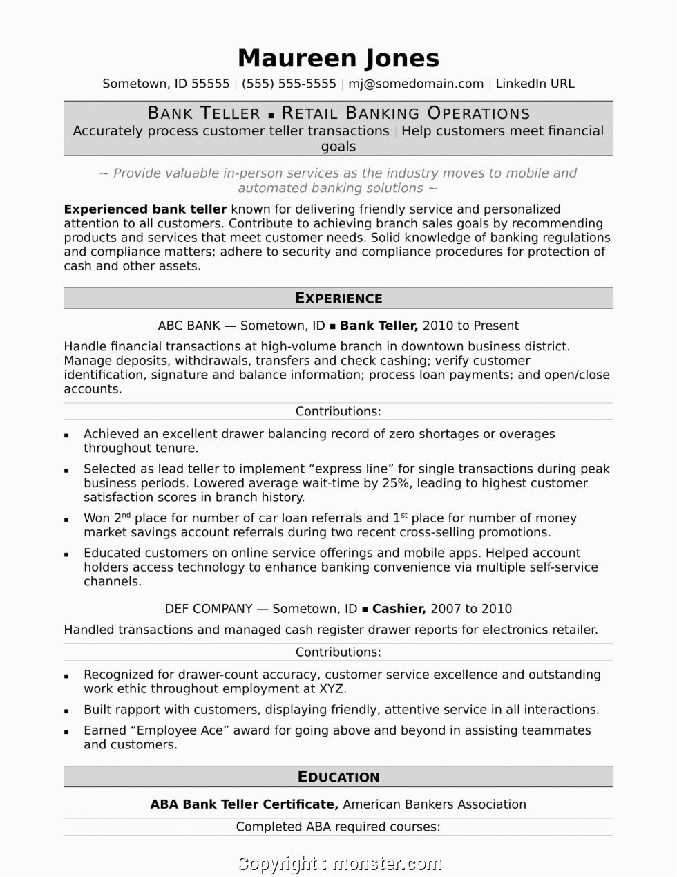 new banking operations resume samples