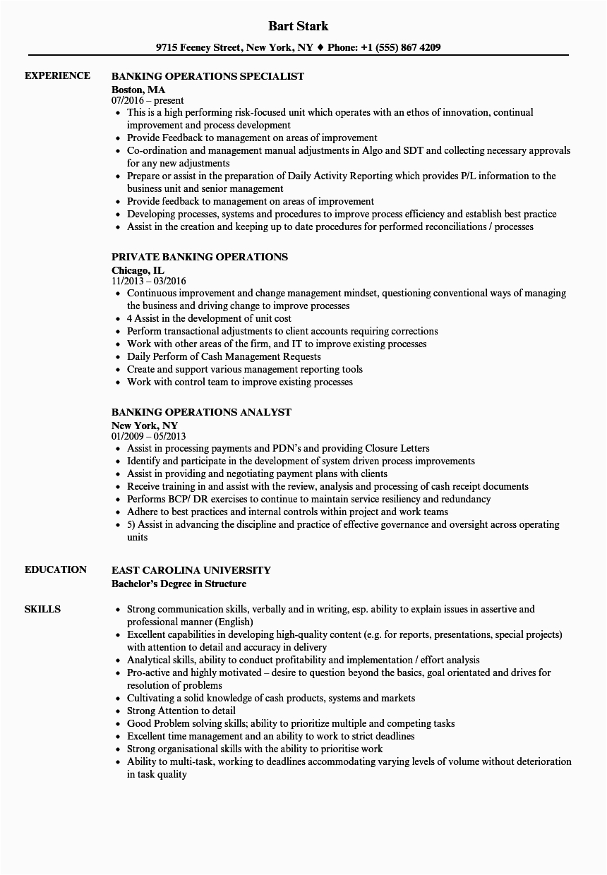 Sample Resume for Banking Operations In India Resume Banker India