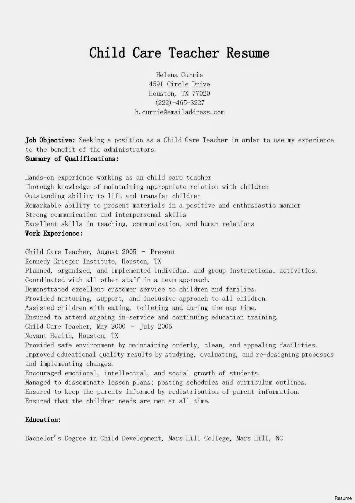 resume for child care jobs