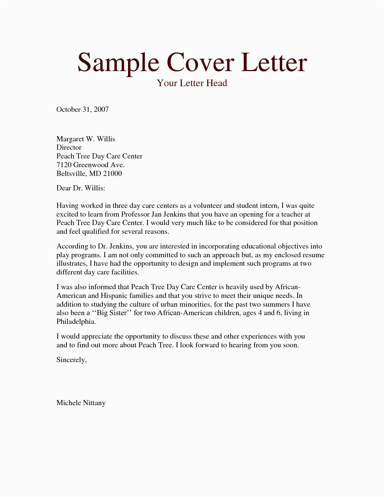 cover letter for daycare worker no experience