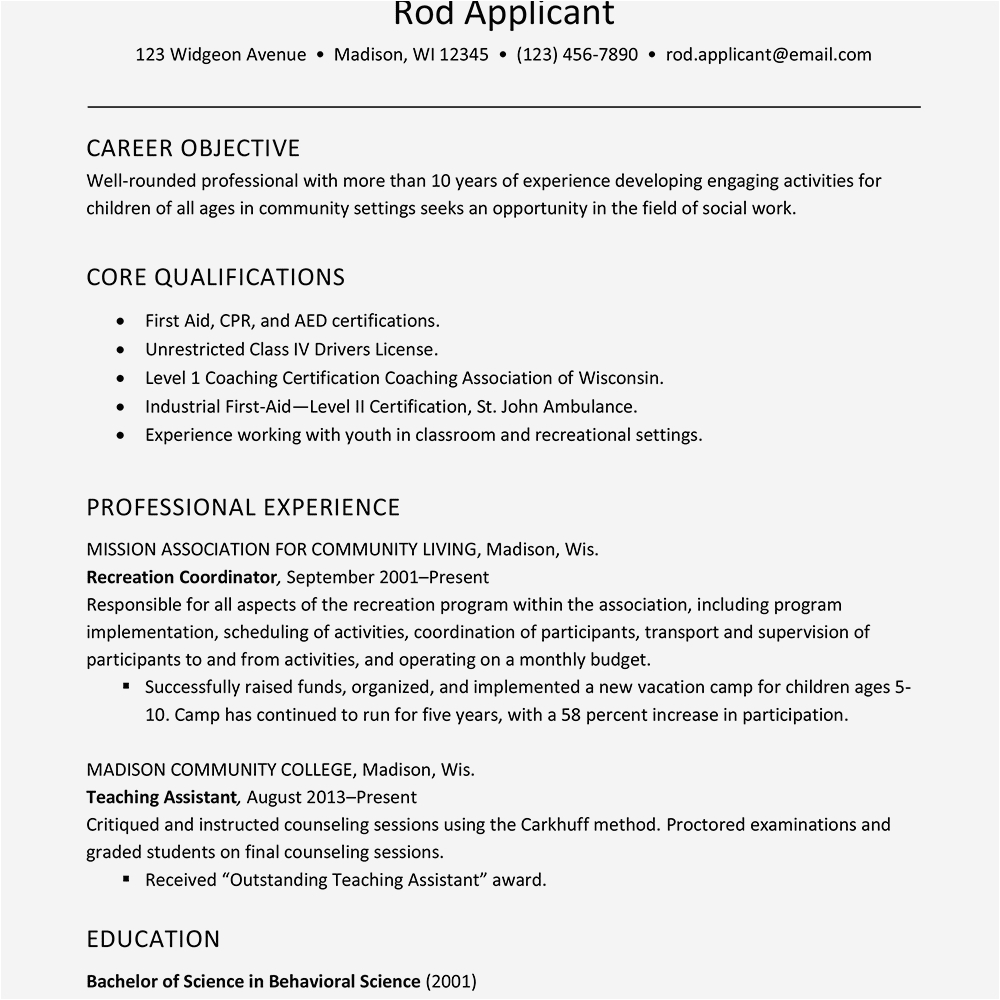 youth care professional cv