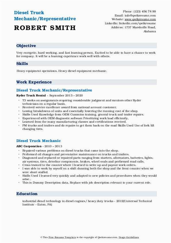 Sample Resume for Diesel Truck Mechanic Diesel Truck Mechanic Resume Samples