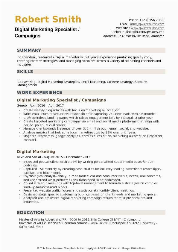 Sample Resume for Digital Marketing Specialist Digital Marketing Specialist Resume Samples
