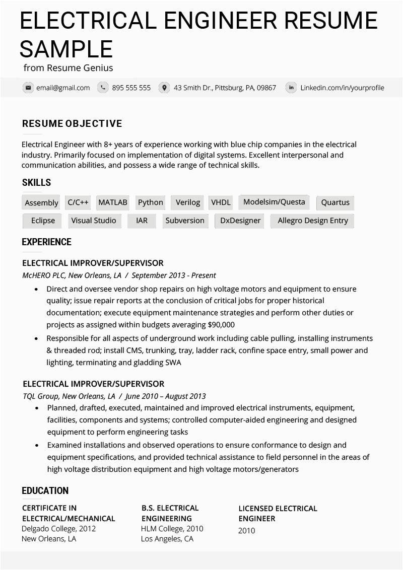 diploma electrical resume format pdf