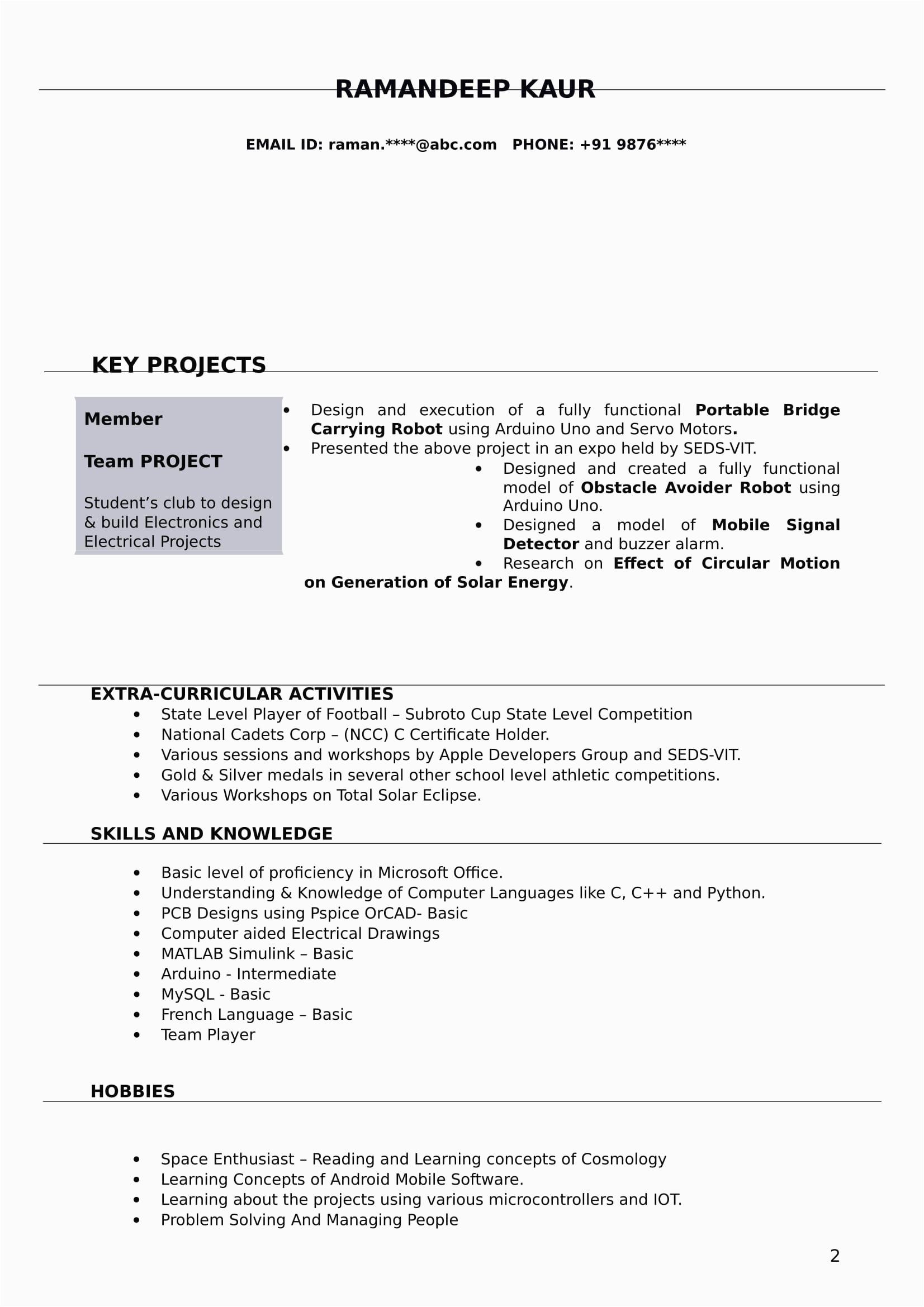 fresher electrical engineer resume pdf