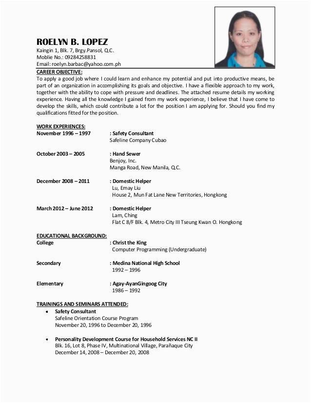 Sample Resume for Domestic Helper Abroad Hong Kong Domestic Helper Resume Best Resume Examples