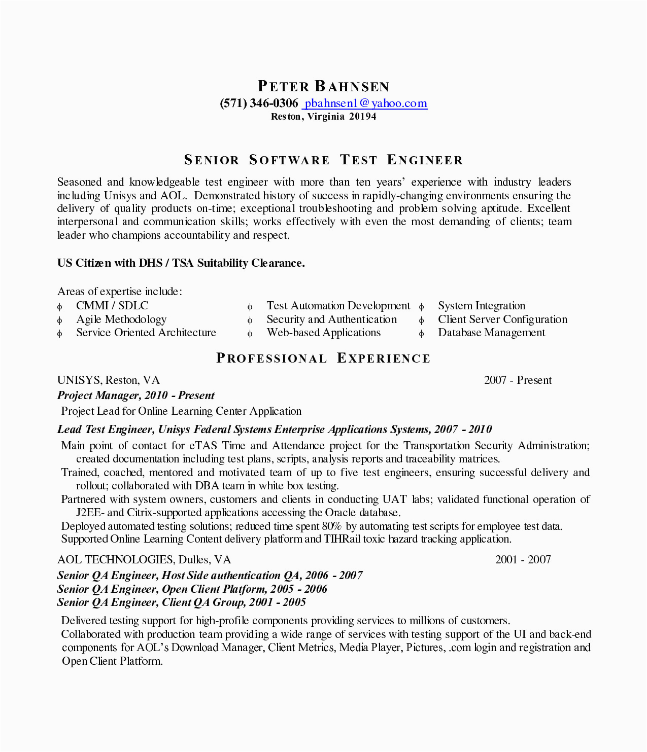 sample resume for software test engineer with experience