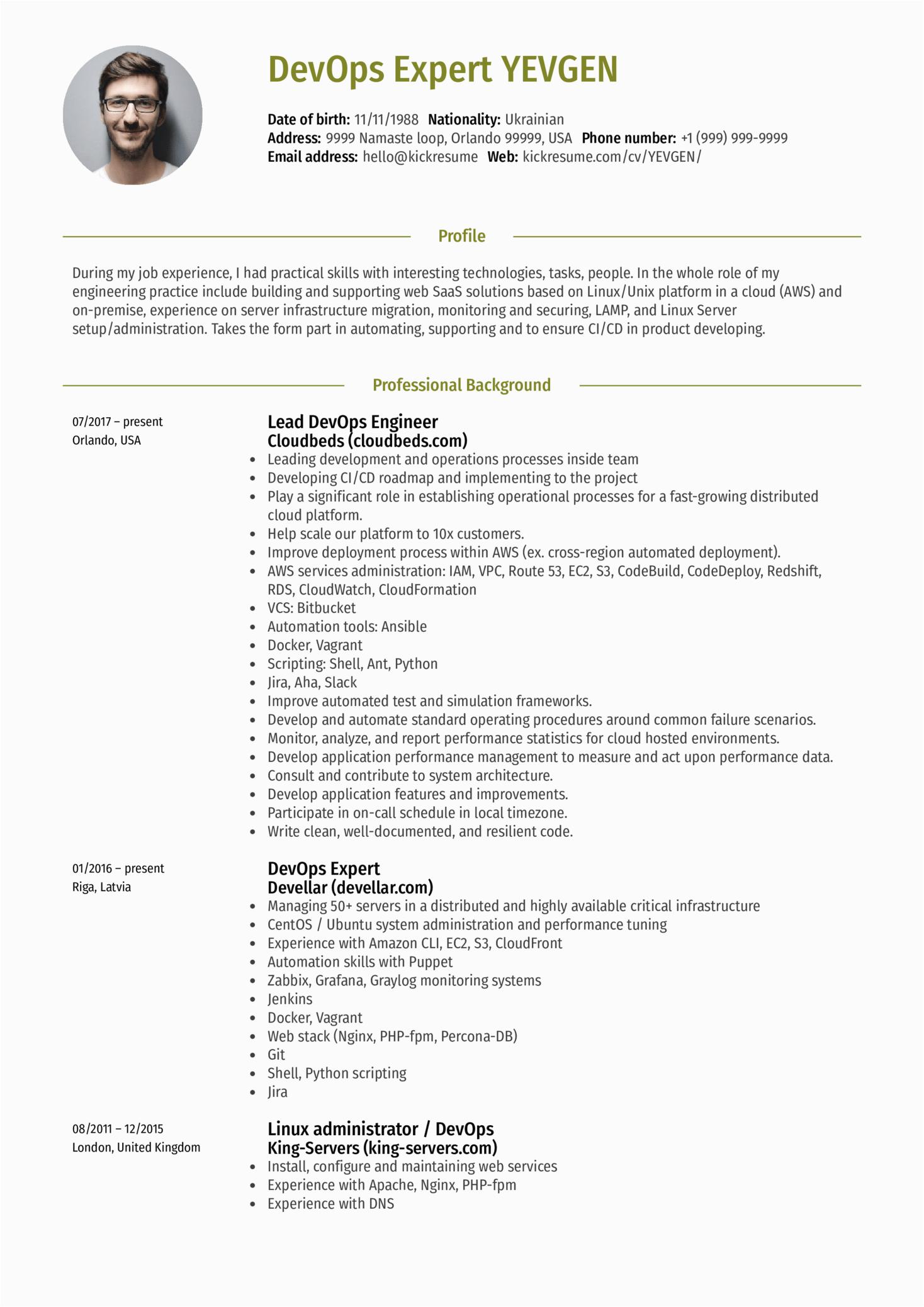 lead devops engineer resume sample