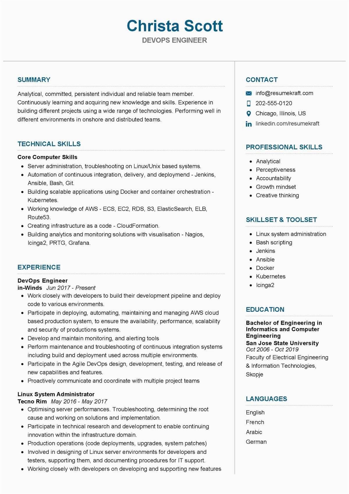 Sample Resume for Experienced Devops Engineer Pdf Devops Engineer Resume Sample 2021
