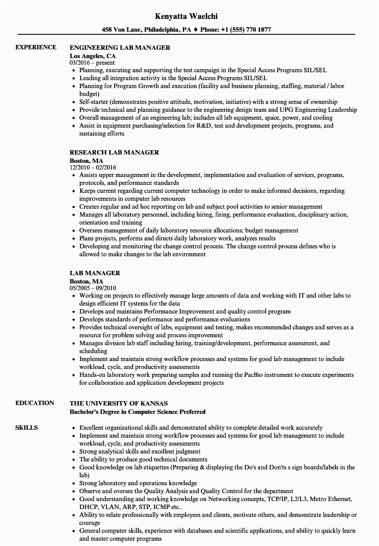 Sample Resume for Lab Manager Position Lab Manager Resume Samples