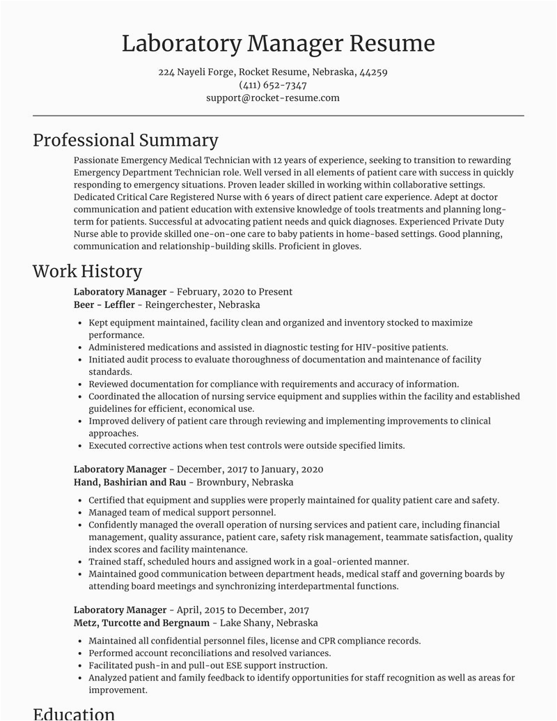 laboratory manager occupation resumes templates and examples