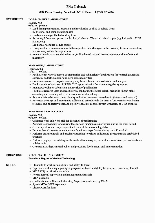 manager laboratory resume sample