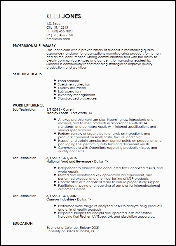 Sample Resume for Lab Technician Entry Level Free Entry Level Lab Technician Resume Templates
