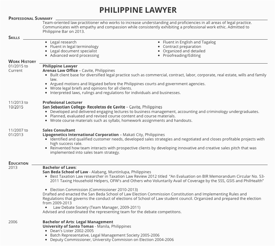 Sample Resume for Lawyers In the Philippines Resume Samples for Lawyers In the Philippines