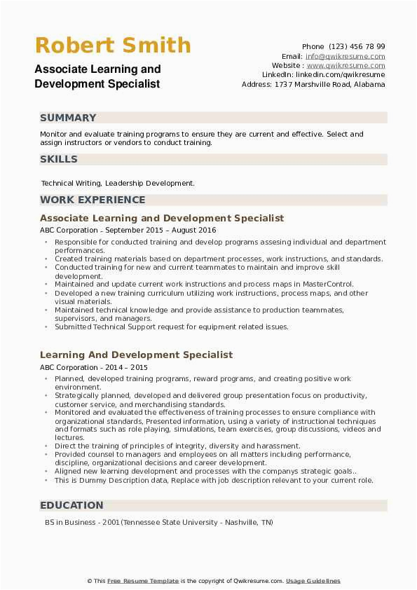 learning and development specialist