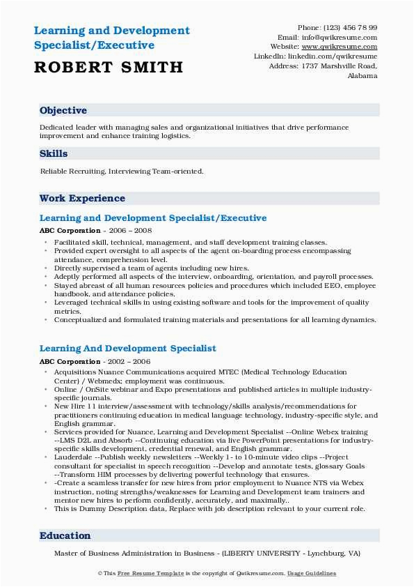 Sample Resume for Learning and Development Specialist Learning and Development Specialist Resume Samples