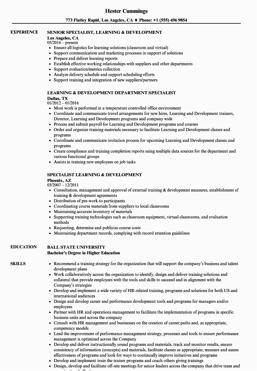 training and development resume examples