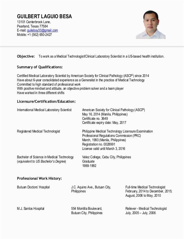 medtech resume sample philippines fresh