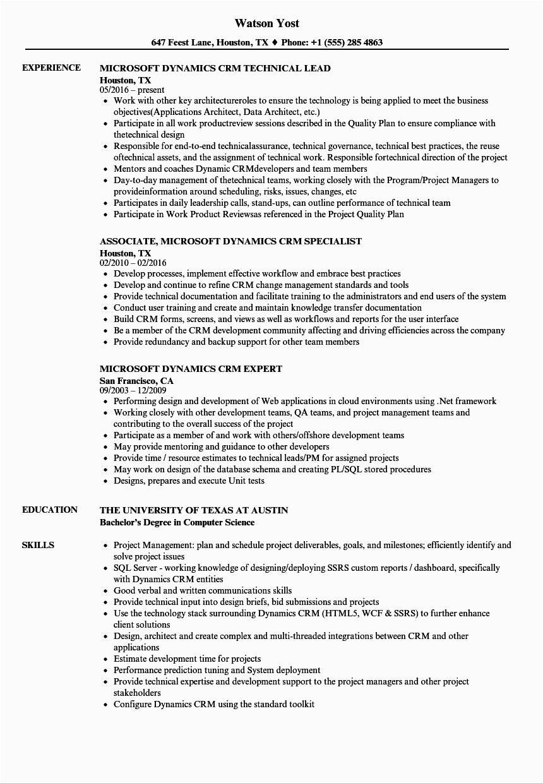 Sample Resume for Microsoft Dynamics Crm Microsoft Dynamics Crm Resume Samples