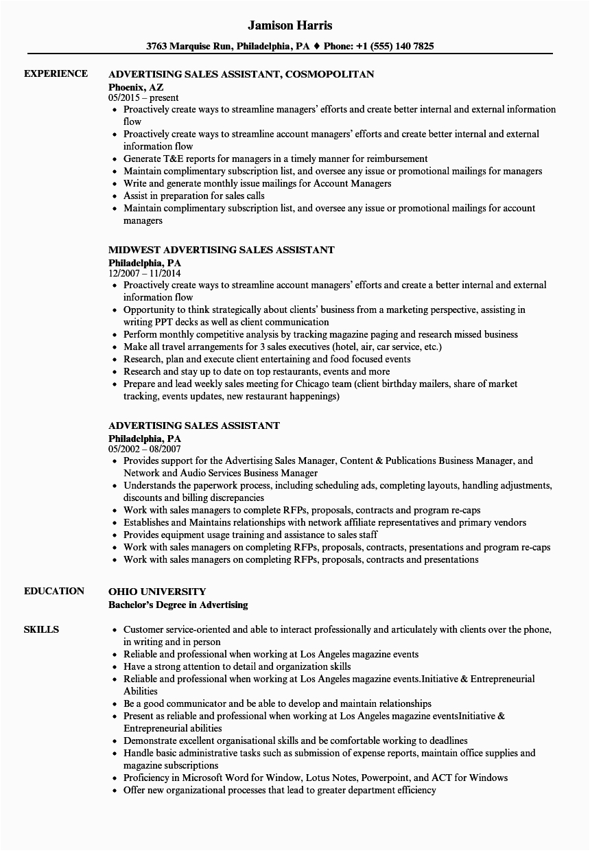 resume for sales assistant