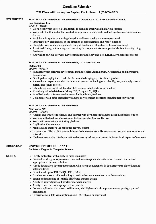 Sample Resume for software Engineer Internship software Engineer Intern Resume Free Resume Templates