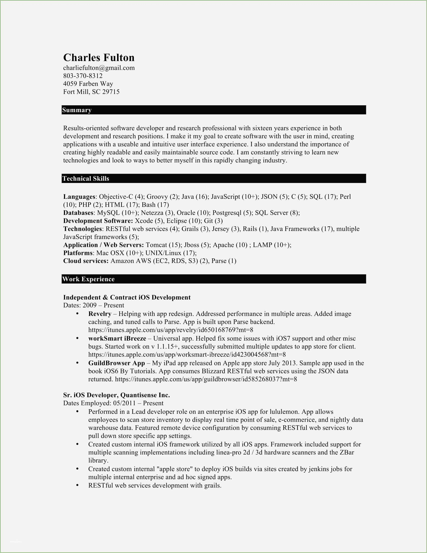 10 years experience software engineer resume