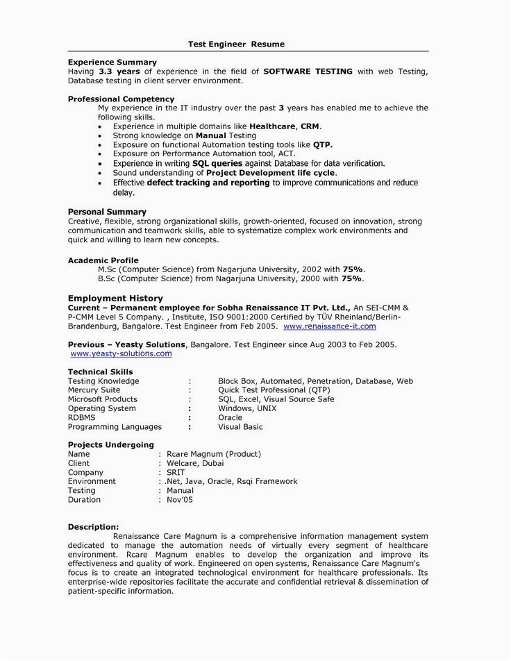 Sample Resume for software Engineer with 5 Years Experience Resume format for 5 Years Experience In Testing